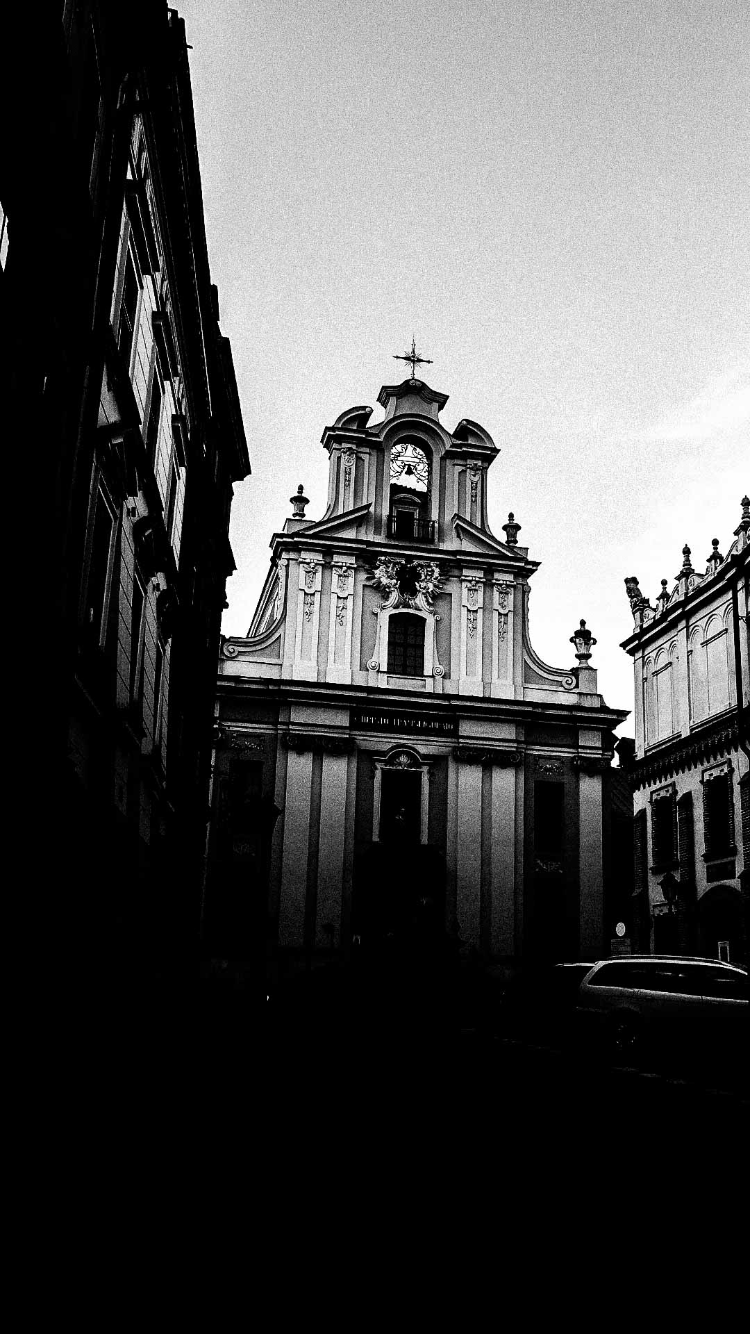 Krakow church in black and white