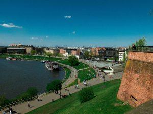 Krakau mit Weichsel vom Wawel aus gesehen