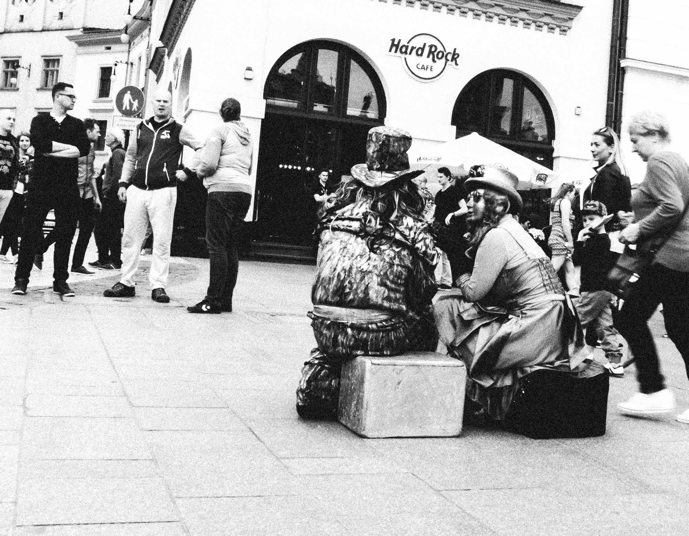 Strassenkunst am Rynek in Krakau