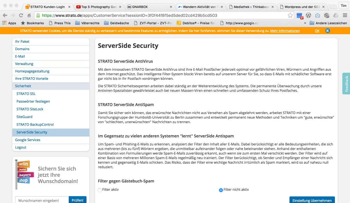 ServerSideSecurity ausschalten