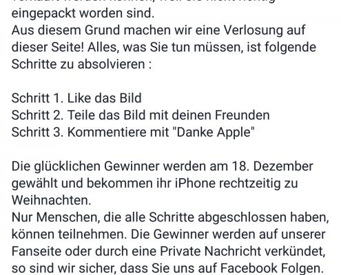 Fake-Gewinnspiel bei Facebook